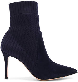 Gianvito Rossi Suede & Knit Katie Ankle Boots in Denim | FWRD