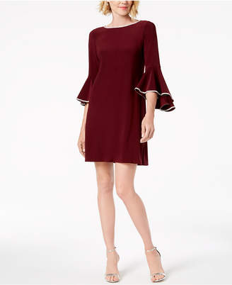 MSK Rhinestone-Trim Bell-Sleeve Dress