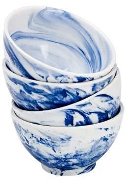 Over and Back overandback Porcelain Marbled Rice Bowl, set of 4, Blue