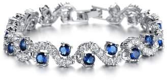 Swarovski weidan jewelry WeidanJewelry Platinum Plated Elements Cubic Zirconia bracelet For women Wedding Jewelry931 (Blue Diamond19mm)
