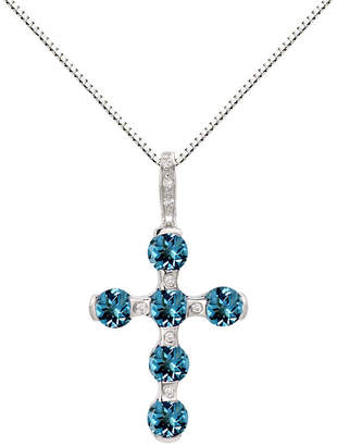 FINE JEWELRY Sterling Silver Blue Topaz & Lab-Created White Sapphire Cross Pendant Necklace