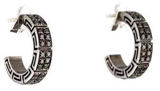 Versace 18K Black Diamond Greek Key Hoop Earrings