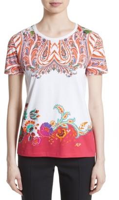 Women's Etro Paisley Border Print Cotton Tee $370 thestylecure.com