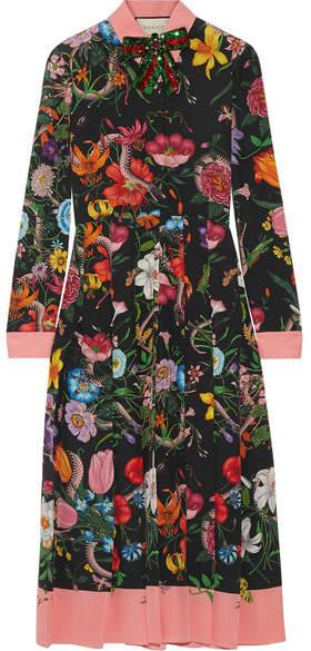 Gucci - Pleated Printed Silk Crepe De Chine Dress - Black
