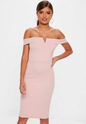 Missguided Rose V Front Bardot Midi Dress