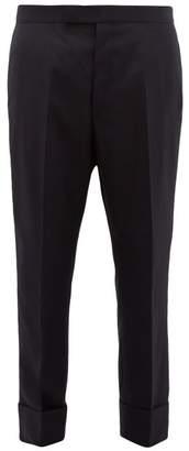 Thom Browne Straight Leg Super 120s Wool Twill Trousers - Mens - Navy