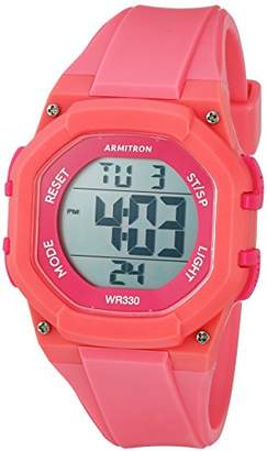 Armitron Sport Women's 45/7080PNK Hot Accented Digital Chronograph Coral Colored Resin Strap Watch