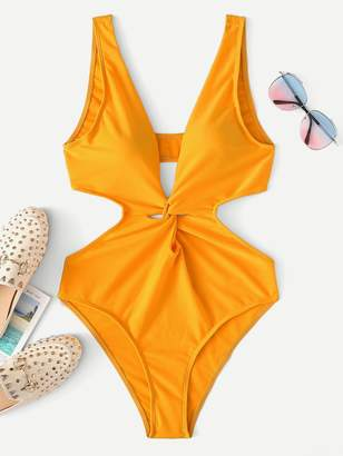 642858e9db Shein Cut-Out Twist One Piece Swimsuit