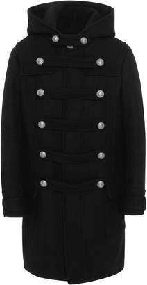 Balmain Double-Breasted Wool Blend-Felt Hooded Coat