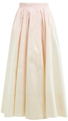Roksanda Aylena Pleated Taffeta Maxi Skirt - Womens - White Multi