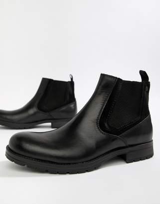 Jack and Jones Leather Chelsea Boot