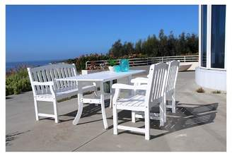 Vifah Bradley Eco-friendly 4-Piece Outdoor White Dining Set with Rectangle Table, 4' Bench and Arm Chairs - White