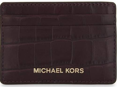 Michael Kors Money Pieces Crocodile-effect Leather - Card Holder - Damson - 32F7GF6D0E-599 - BLACK - STYLE