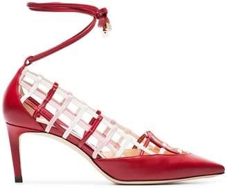 Jimmy Choo red and white soraya 65 leather pumps