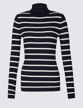 Marks and Spencer Striped Roll Neck Long Sleeve Jumper