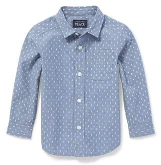 Children's Place The Long Sleeve Printed Poplin Button-Down Shirt (Baby Boys & Toddler Boys)