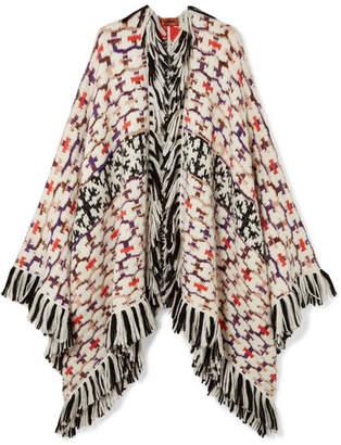 cff19a480f6e2 Missoni Fringed Intarsia-knit Wrap - White