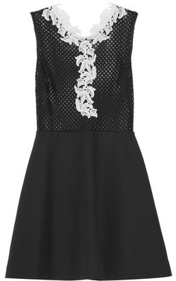 Sandro Rama Guipure Lace-Trimmed Open-Knit And Cotton-Blend Mini Dress $470 thestylecure.com