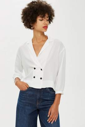 Topshop TALL Button Up Wrap Blouse