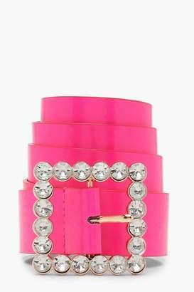 boohoo Embellished Buckle Neon Belt