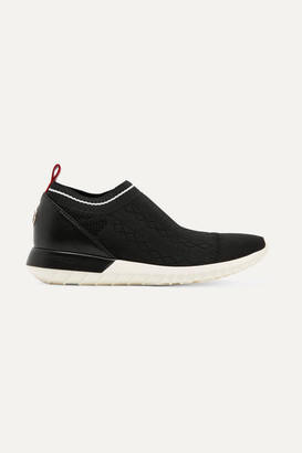Moncler Giroflee Leather-paneled Stretch-knit Slip-on Sneakers - Black
