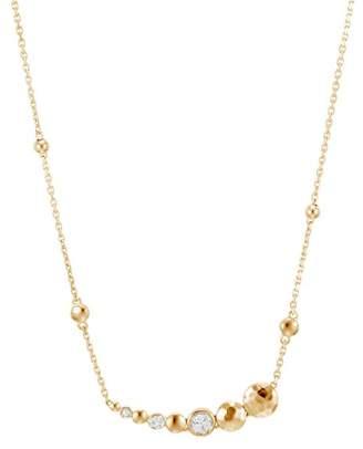 """John Hardy 18K Gold Dot Hammered Pavé Diamond Station Necklace, 16"""""""