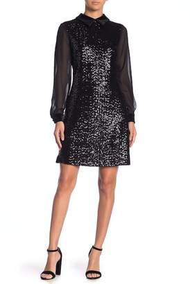 Julia Jordan Velvet Pointed Collar Front Sequin Dress