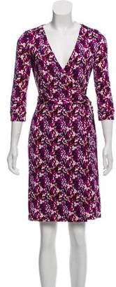 Diane von Furstenberg Silk Abstract Print Long Sleeve Wrap Dress