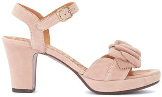 Chie Mihara Blossom Nude Suede Heeled Sandal With Flower