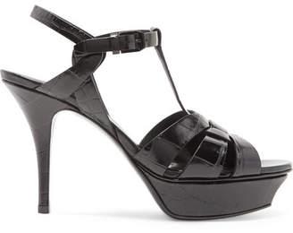 Saint Laurent Tribute Croc-effect Leather Platform Sandals - Black