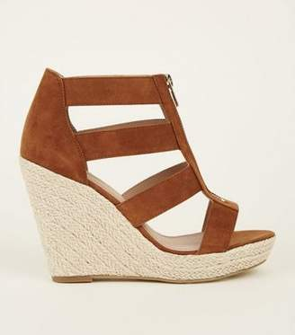 New Look Tan Suedette Zip Front Espadrille Wedges
