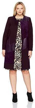 Calvin Klein Women's Plus Size Long Jacket with Suede and Pu