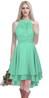MenaliaDress Chiffon Halter High Low Country Bridesmaid Dresses Prom Gown M052LF US
