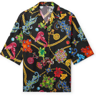 d7908710 Versace Camp-Collar Printed Silk-Twill Shirt