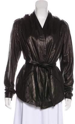 Zero Maria Cornejo Distressed Leather Jacket