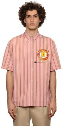 MSGM Print Striped Cotton Poplin Shirt
