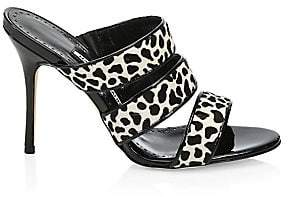 Manolo Blahnik Women's Cisto Animal-Print Calf Hair Sandals