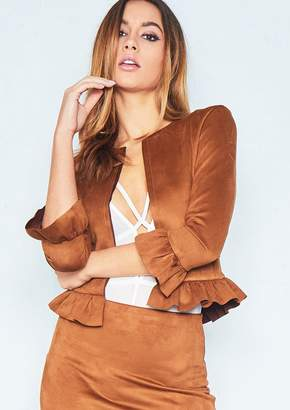 Missy Empire Missyempire Sophia Tan Collarless Faux Suede Frill Jacket