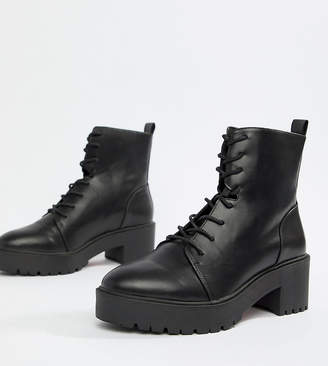 Asos Design DESIGN Wide Fit Raider Chunky Lace Up Boots