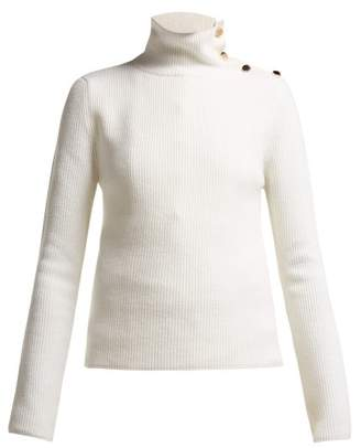 RED Valentino Button Neck Wool Sweater - Womens - Ivory