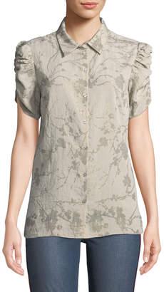T Tahari Metallic Floral Button-Down Blouse