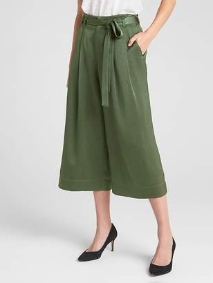 Gap Tie-Belt Crop Wide-Leg Pants in Satin