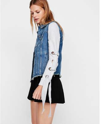 Express knit lace-up sleeve denim trucker jacket