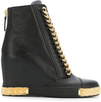Casadei chain embellished wedge sneakers