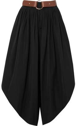 Chloé Belted Cropped Cotton-poplin Wide-leg Pants - Black