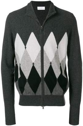 Ballantyne argyle knit zip cardigan