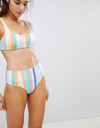 SKYE & staghorn Skye And Staghorn High Waisted Stripe Zip Up Bikini Bottom