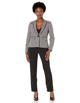 Le Suit Women's Petite Two Tone Birdseye 1 Button Pant Suit