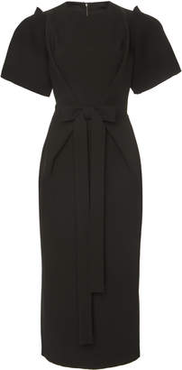 Dolce & Gabbana Tie-Detailed Crepe Midi Dress Size: 40