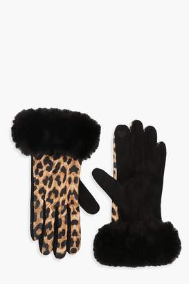 boohoo Faux Fur Trim Leopard Gloves